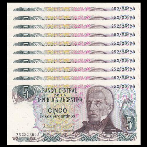 Lot 10 PCS 1983-1984 Argentina 5 Pesos P-312 UNC