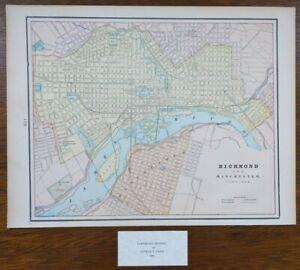 Vintage-1900-RICHMOND-amp-MANCHESTER-VIRGINIA-Map-14-034-x11-034-Old-Antique-Original