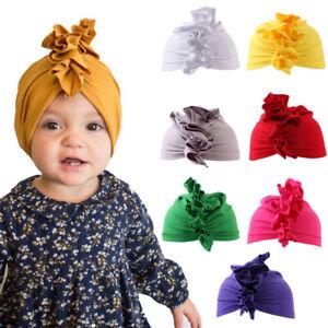 Hair-Band-Girl-039-s-Fashion-Ruffle-Bow-Hat-Knot-Baby-Turban-Beanie-Cap-Headband