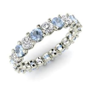 2.54 Ct Round Diamond Aquamarine Engagement Eternity Band 14K White Gold Size 5