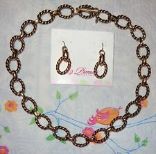 PREMIER DESIGNS LINKED IN NECKLACE & EARRING $85 GOLD PLATED TWISTED ROPE BLACK