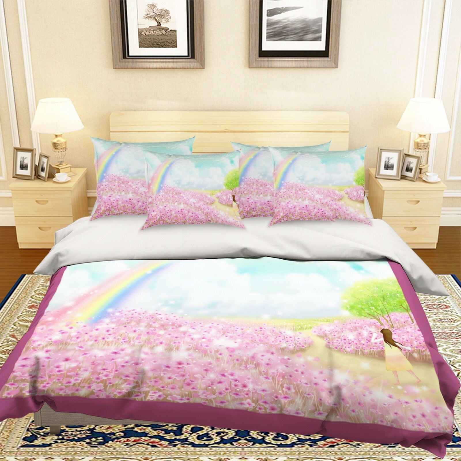 3D Pink Forest Rainbow 521 Bed Pillowcases Quilt Duvet Cover Set Single Queen CA