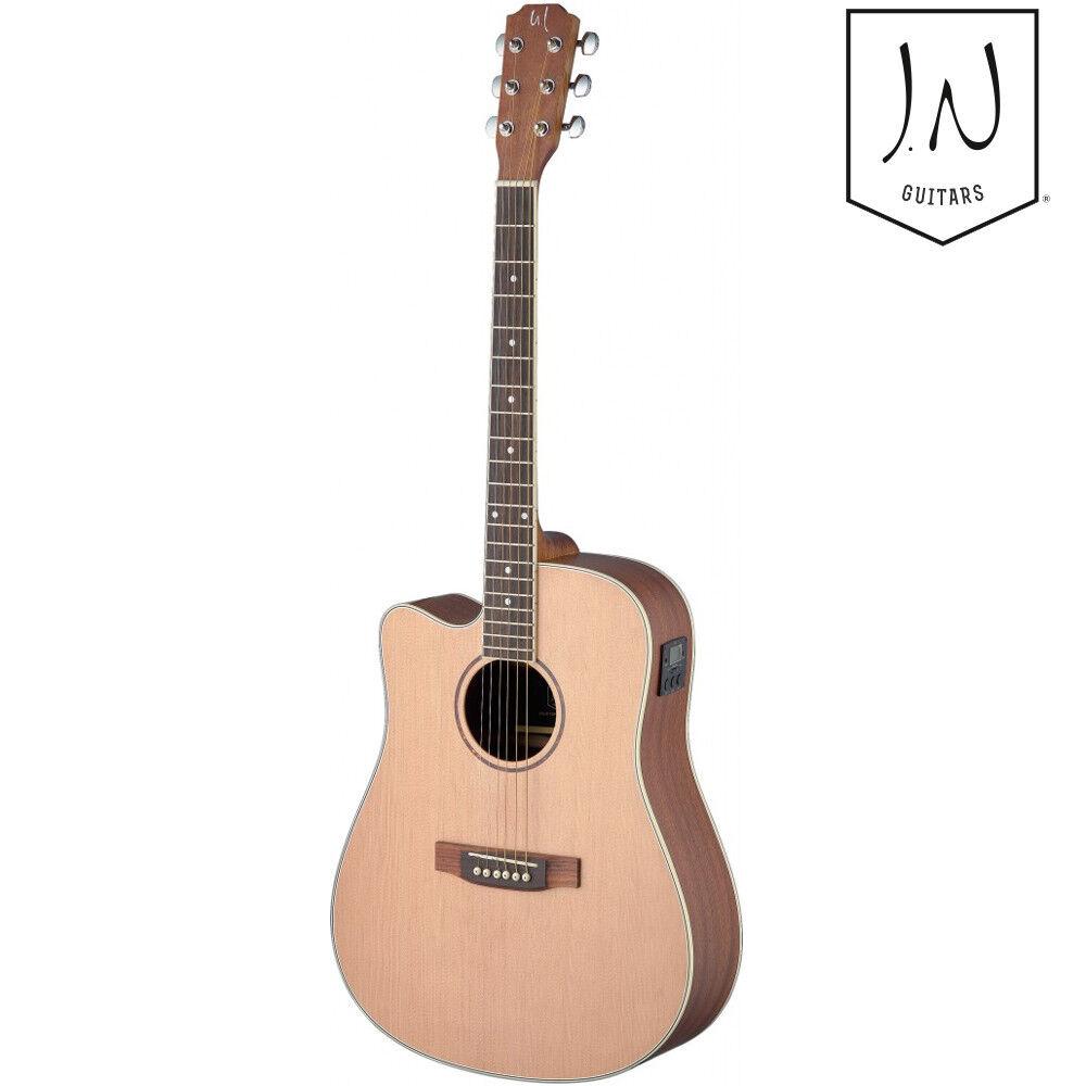 NEW J.N Guitars Asyla Series Left Hand Cutaway Acoustic Electric Guitar Natural