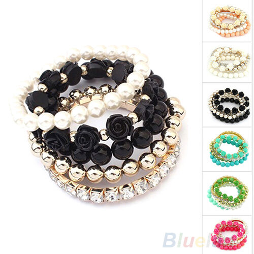 Women's Multi-layer Rose Flower Faux Pearl Rhinestone Beaded Elastic Bracelet