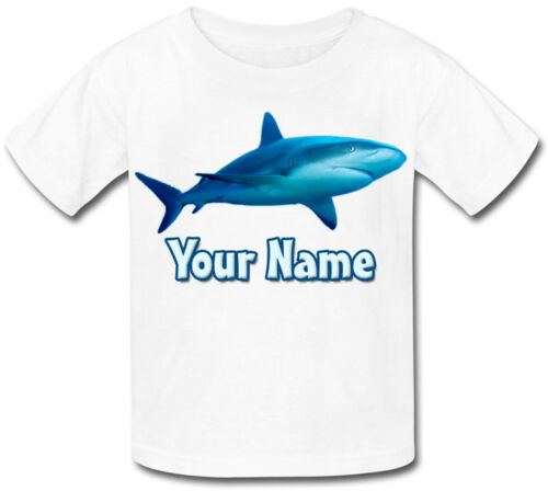 GREAT KIDS GIFT /& NAMED ANY PICTURE JUST ASK SHARK PERSONALISED CHILDS T-SHIRT