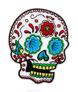 Candy Sugar Skull EMBROIDERED IRON ON SUGAR PATCH