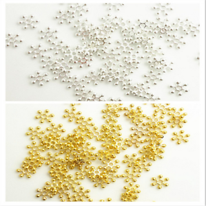 100-PCS-6-8-10-MM-Gold-Silver-Snowflake-Daisy-Spacer-Bead-DIY-Jewelry-Making