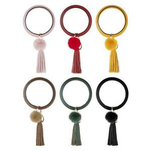 Tassel-Pendant-Keychain-Bracelet-Leather-Pompom-Car-Hanging-Key-Ring-Gift-Best