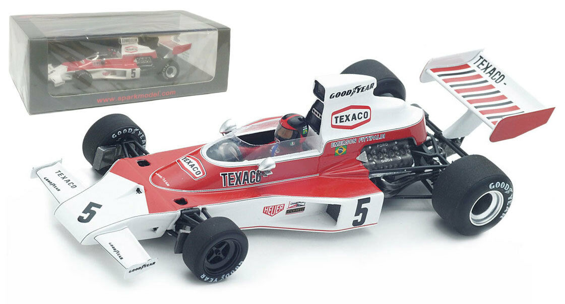 Spark S4359 McLaren M23 Brazil Brazil Brazil GP 1974 - Emerson Fittipaldi World Champion 1 43 83e47d