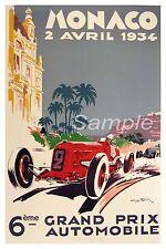 VINTAGE 1934 MONACO GRAND PRIX AUTOMOBILE A2 POSTER PRINT