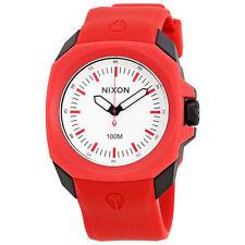 Nixon Ruckus White Dial Mens Red Rubber Watch