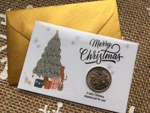 3 1 10 5 Carte de Noël modèle 2020 avec Original Lucky Sixpence /& Enveloppe