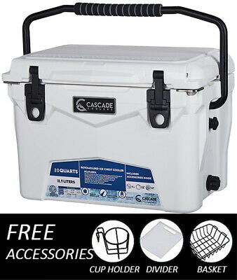 CASCADE INDUSTRIES COOLERS 20QT ROTOMOLDED ICE COOLER FREE ACCESSORIES//SHIPPING