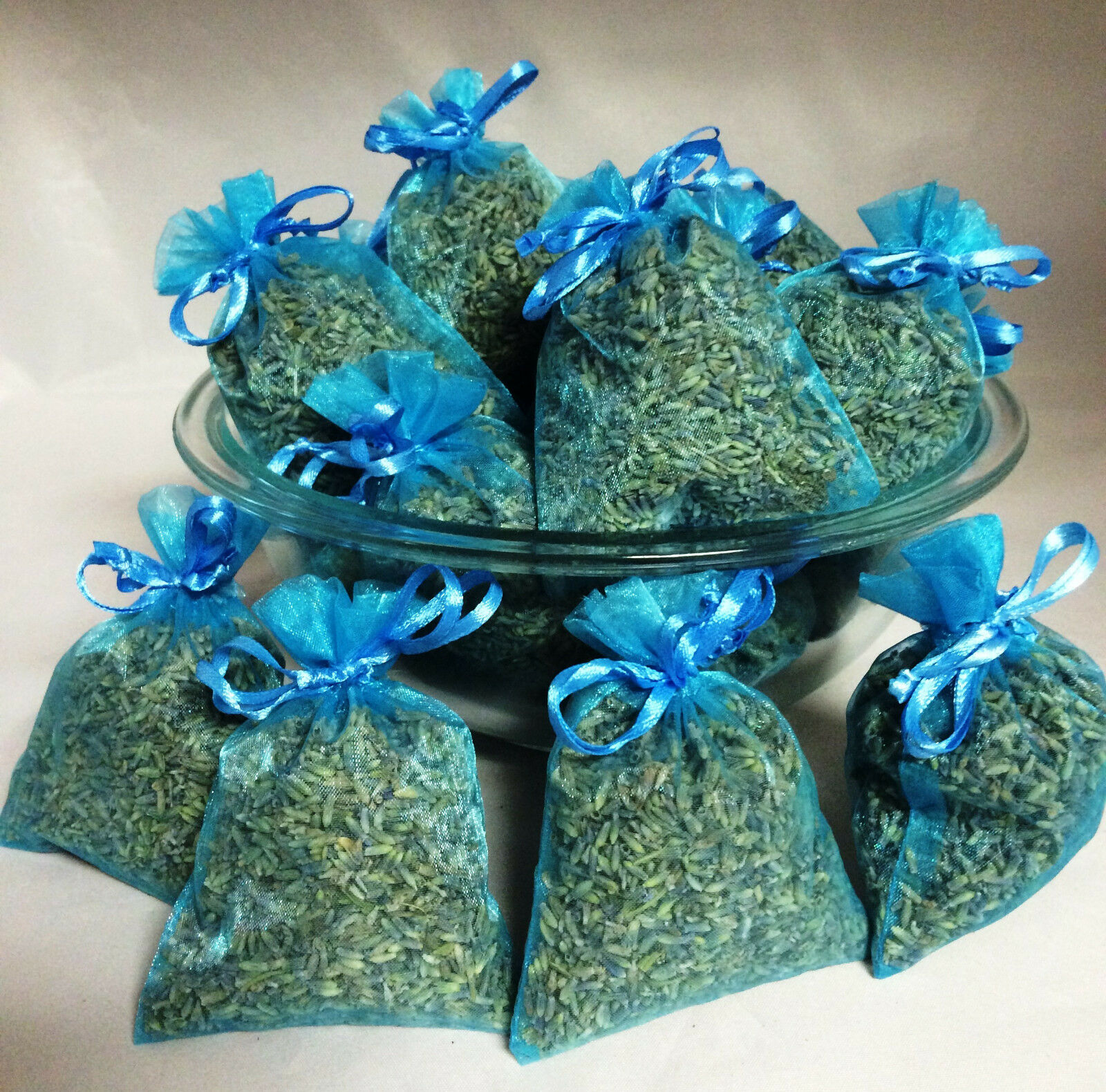 Set of 80 Lavender Sachets made with Turquoise Organza Bags