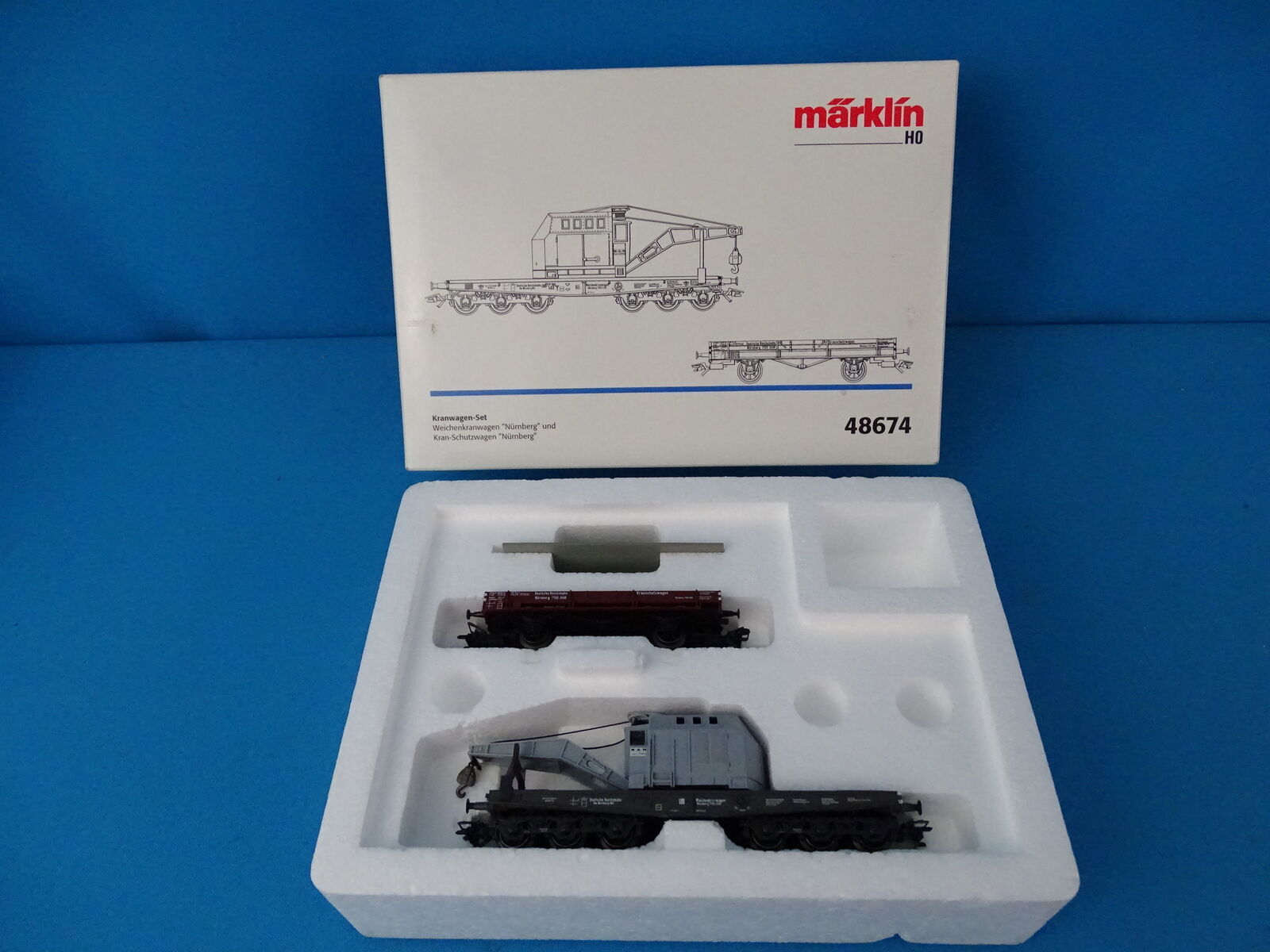 Marklin 48674 DRG Crane Car grigio SET