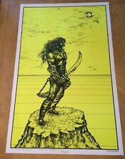 Warrior II Houston Blacklight Vintage Poster Psychedelic 1970 Original YELLOW