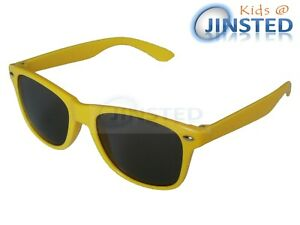 Childrens-Yellow-Frame-Sunglasses-Kids-Sunnies-Childs-Shades-Tinted-Lens-KR012