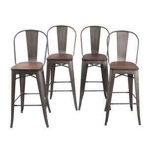 4 30 Metal Bar Stools Counter Chair Dinning Chairs High Back