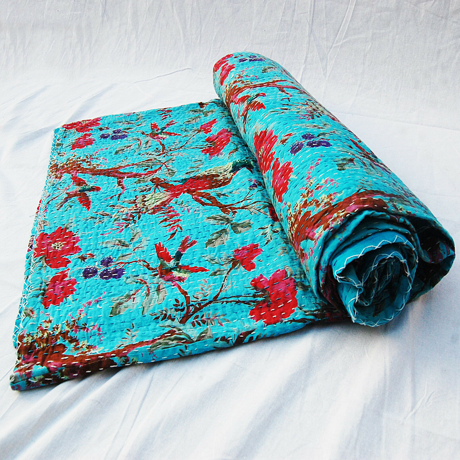Turquoise Queen Bird Printed Kantha Floral Throws Indian Hand Stitched Gudari