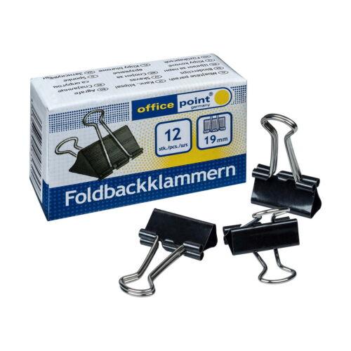 12  Binder Clips 19 mm aus Metall Foldbackklammern