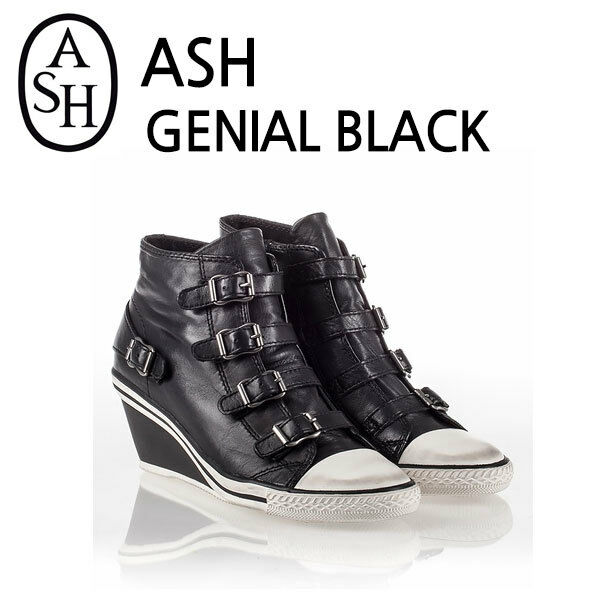 ASH Genial Buckle Strap Zip Boots Wedge Heels Sneaker Black NIB EU35, EU39