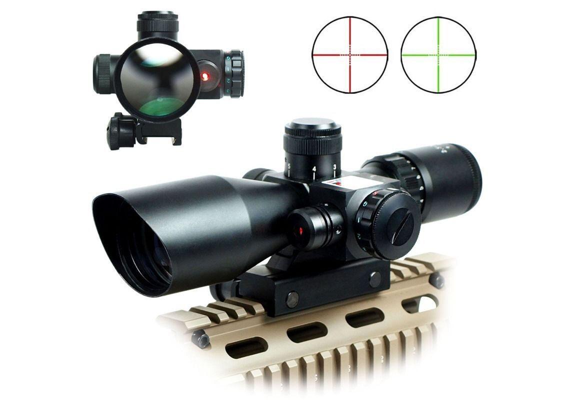 Hot Sale 2.5-10x40 Rifle Scope Red Laser Dual illuminated Mil-dot w  Rail Mounts