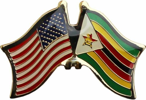 Wholesale Pack of 24 USA American Zimbabwe Friendship Flag Hat Cap lapel Pin