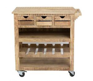 Details zu Küchenwagen Servierwagen Mango Holz massiv lackiert rustikal alt  getrimmt