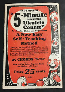 1927 Illustrated 5 Minute Guaranteed Ukulele Course Booklet Self Teaching