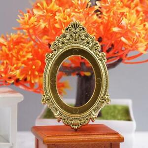 Antique-Vintage-Gold-Metal-Oval-FRAME-w-Convex-Bubble-Glass
