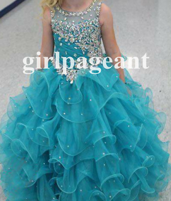 16 color Infant//toddler//baby Crystals//rhinestone long Pageant Dress G388