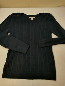 Banana-Republic-Womens-Navy-Blue-Cable-Knit-Crew-Neck-Pullover-Sweater-Size-M