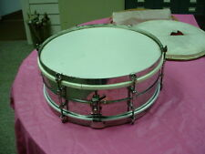 "Vintage Brass 1920's  LUDWIG  USA Universal  Snare 14"" Headisze Drum No Res #8"