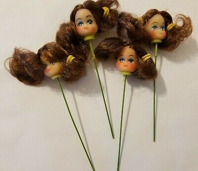 "Lot of 4 Craft Miniature 1/"" Vinyl Black Hair Girl Doll Heads on Wire Stick Pick"