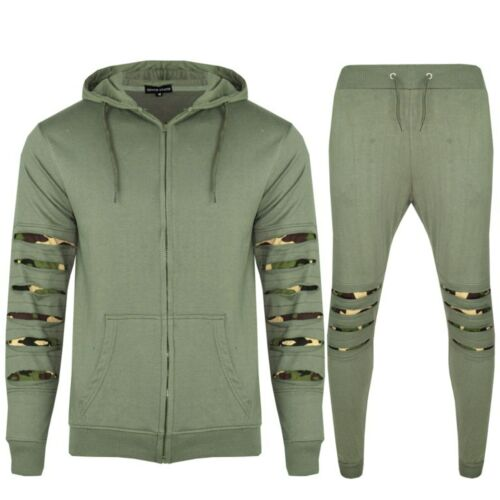 New Men/'s Camo Cut Slim Fit Hoodie Top and Jogging Bottoms Gym Tracksuit Set