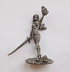 1-32-Fantasy-Dark-Elf-Female-Warrior-Tin-Metal-Soldier-Figure-54mm-Drow-Girl