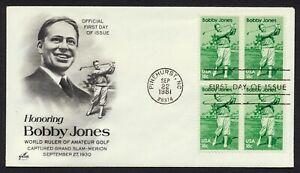 #1933 18c Bobby Jones-Block De 4 , Art Craft FDC Cualquier 4=