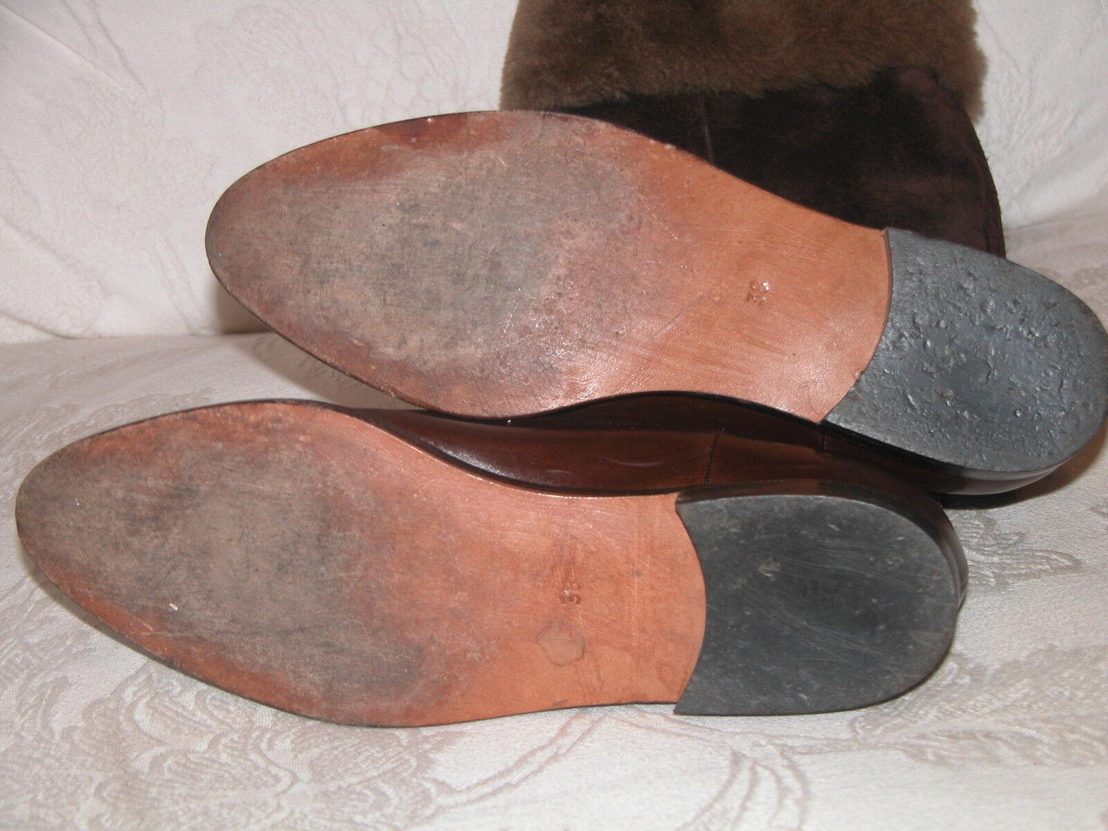 Ottorino Bossi 'Marrón Gamuza & Cuero y botas de oveja piel de oveja de Cosaco-EU 38 0ed1e5
