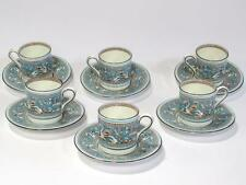 Wedgwood Turquoise Florentine 6 Demitasse Cups & Saucers Demi W2714