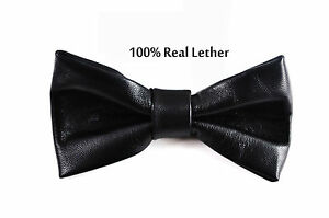 Men-100-Real-Genuine-Leather-SOLID-BLACK-Shining-Bow-Tie-Bowtie-Wedding-Party