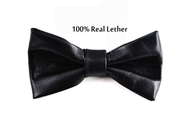 Men 100% Real Genuine Leather SOLID BLACK  Shining Bow Tie Bowtie Wedding Party