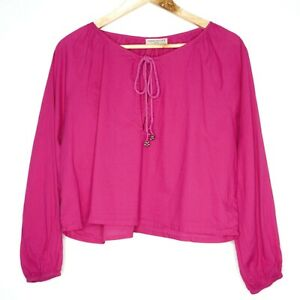 Tree Of Life Womens Hot Pink Peasant Boho Style Top Blouse Size S/M 100% Cotton