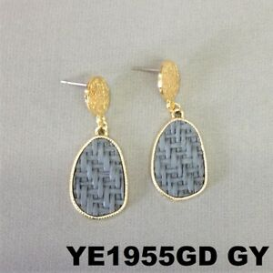 6457030dd Details about Bohemian Style Grey Oval Burlap Material Charm Gold Finish Post  Stud Earrings