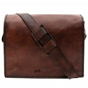 L-XL Genuine Vintage Leather Satchel Man Handmade Laptop Briefcase Messenger Bag