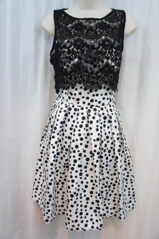 Betsy & Adam Dress Sz 6 schwarz Weiß Polka Dot Lace Pleated Cocktail Party Dress