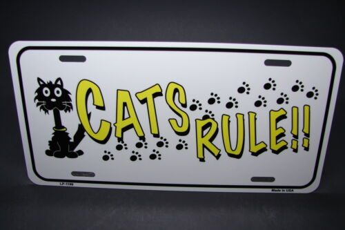 CATS RULE METAL ALUMINUM CAR LICENSE PLATE TAG ANINAL LOVE PAWS CATS
