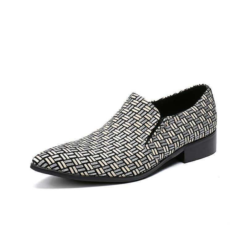 Classics Fashion British Weave Pointy Toe Uomo's Party  Pelle Shoes Plus Size