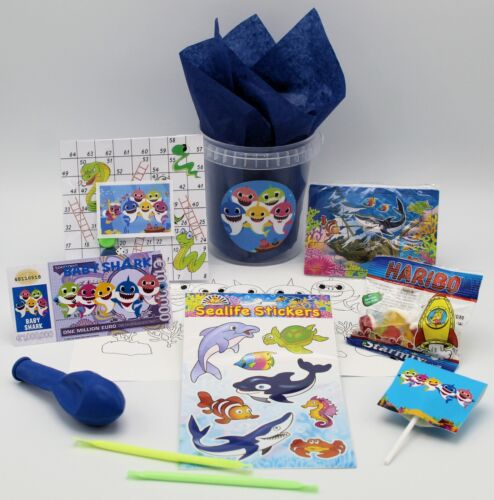 A BABY SHARK THEMED FILLED PARTY TUBS BAGS GIFT FAVOUR PRIZE