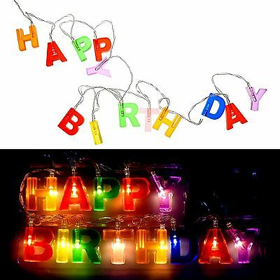 3D LED Rope String Light Happy Birthday Gift Surprise Hanging Party Decor Banner