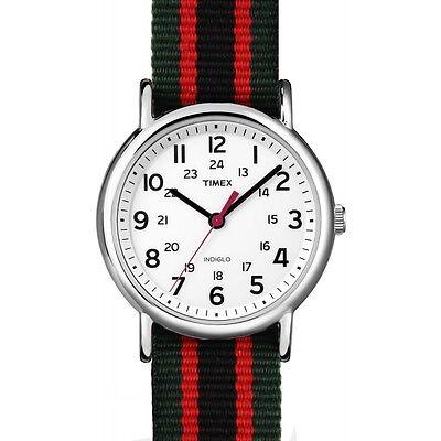 Timex Orologio Indiglo Cinturino Tessuto Colorato Luce Verde Nero Rosso ABT745